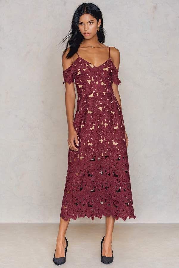 Na Kd Boho Cold Shoulder Crochet Midi Dress Red Red Midi Dress Dresses Crochet Midi Dress