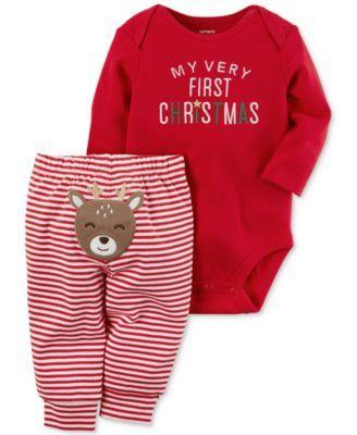 d2a10b1d5 Carter s 2-Pc. Cotton Holiday Bodysuit   Pants Set