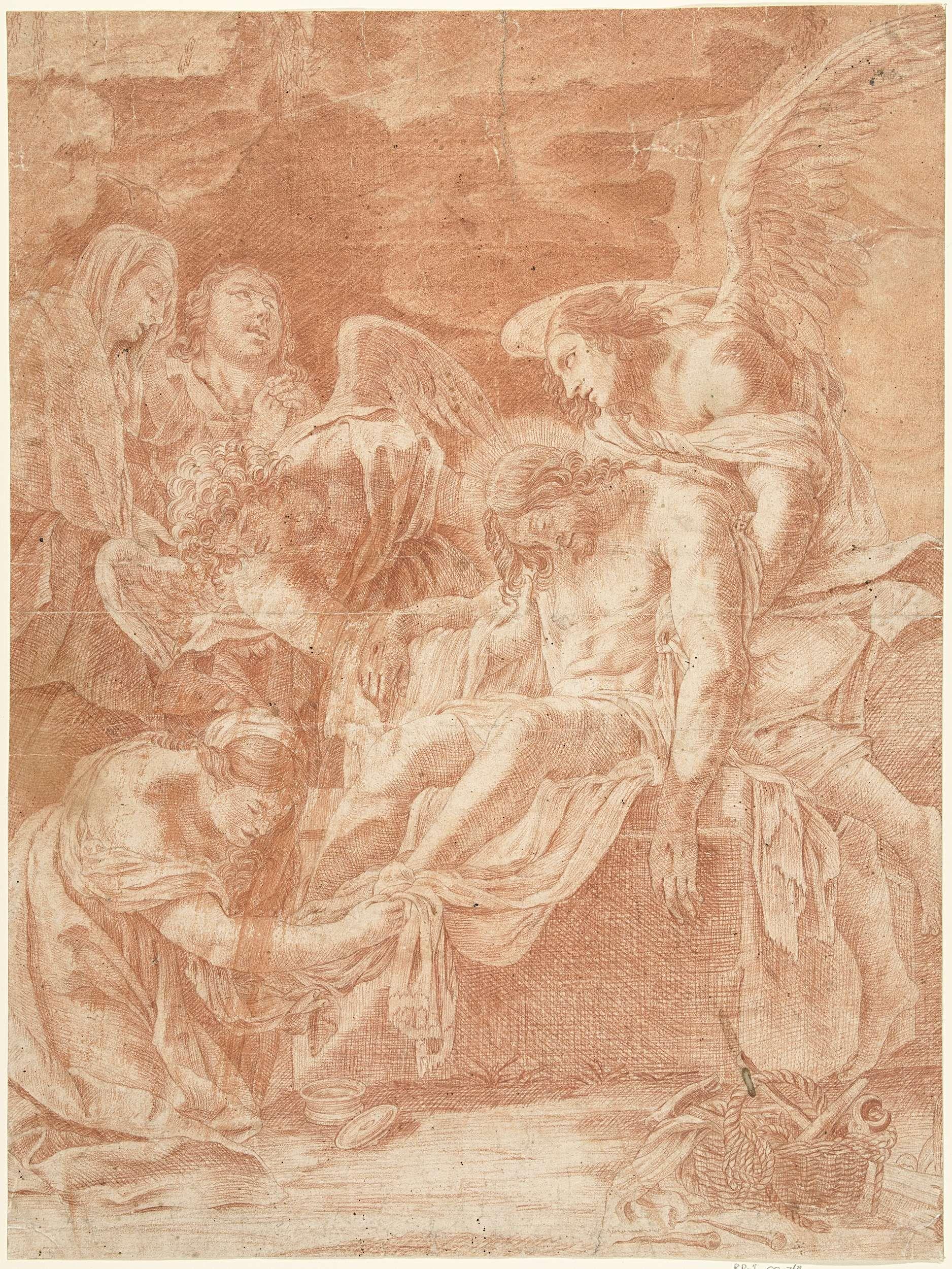 Pierre Daret   Graflegging van Christus door engelen, Pierre Daret, Simon Vouet, Anonymous, 1641 - 1700  