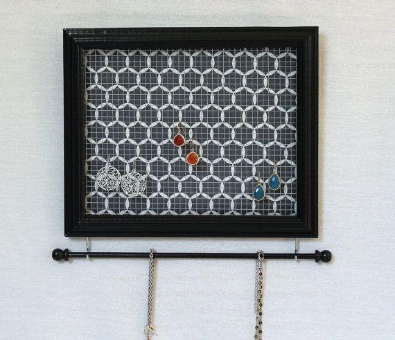 Jewelry Holder Black Framed Jewelry Organizer Strawflower Studio