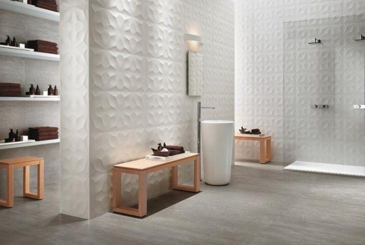 panneau mural décoratif en 3D dans la salle de bain moderne, paroi - Salle De Bain Moderne Douche Italienne