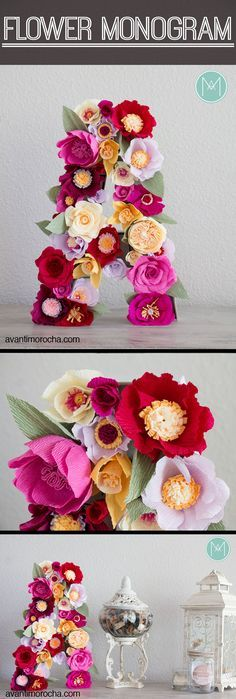 DIY Flower Monogram   Crepe Paper Flowers   Party Decor   Baby Shower   Birthday   Wedding   Nursery Decor   Carte Fini For custom order visit my Etsy Shop https://www.etsy.com/shop/AvantiMorochaDIYs