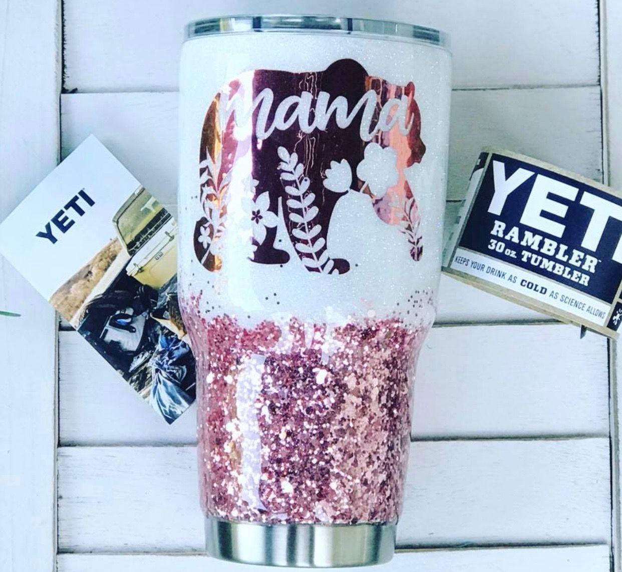 Glitter Tumbler Stainless Steel,Personalized Gifts,Teacher Gift,Custom Tumbler,Gifts for Her Mama Bear Glittered Tumbler