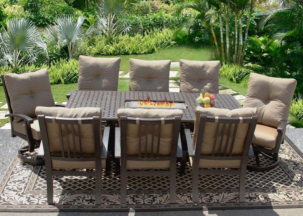 Details About 9 Pc Cast Aluminum Barbados Cushion Outdoor Patio