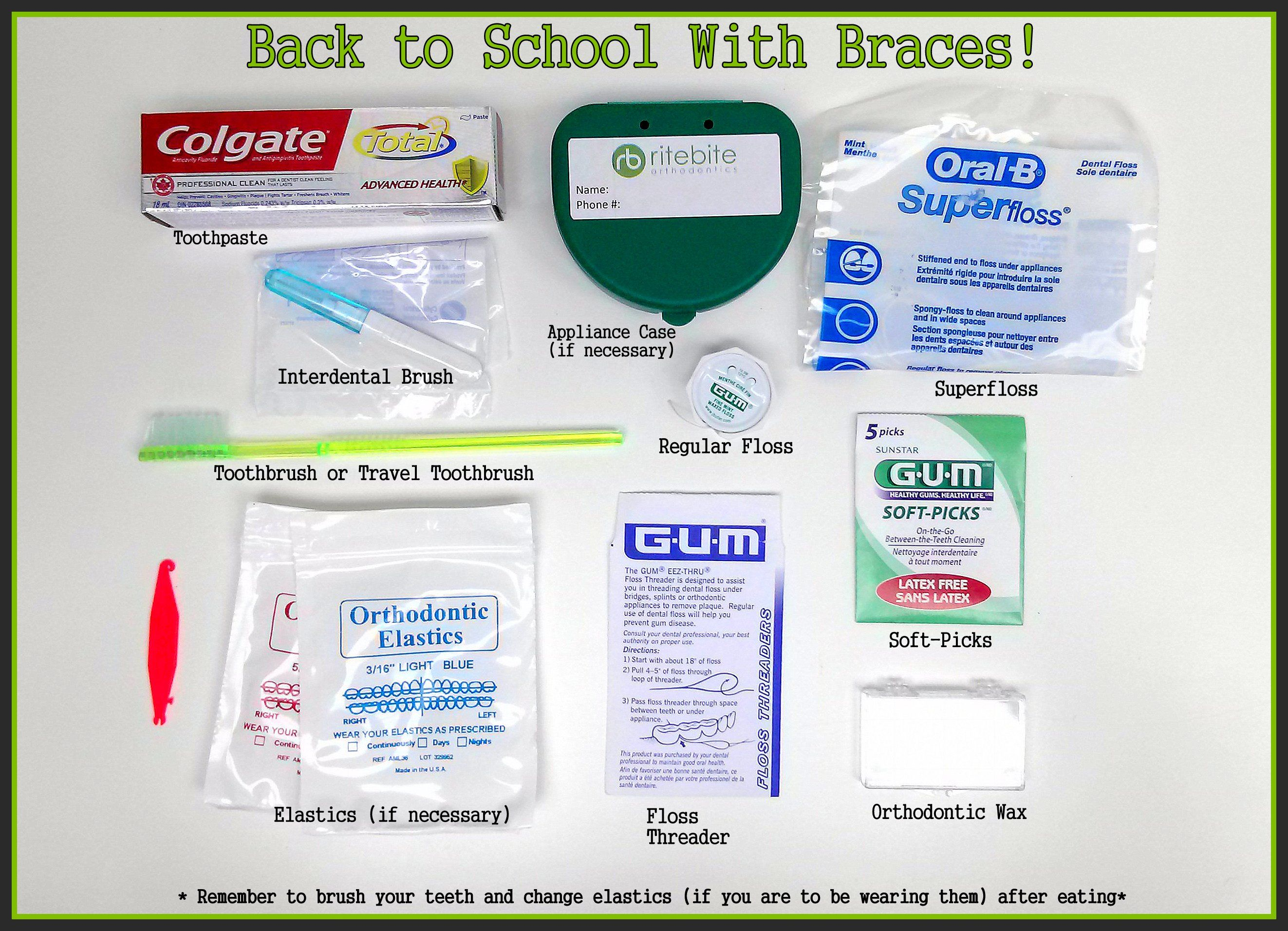 Back to School with Braces! Remember to take along a small bag with ...
