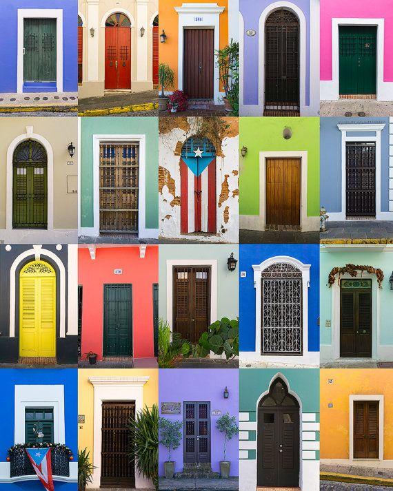Doors Of Old San Juan Wall Art Print Multiple Sizes Etsy Puerto Rico Vacation Puerto Rico Art Puerto Rico
