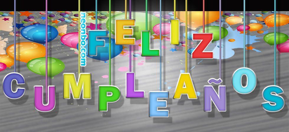 Letras de feliz cumplea os flotando con cuerdas de colores - Feliz cumpleanos letras ...