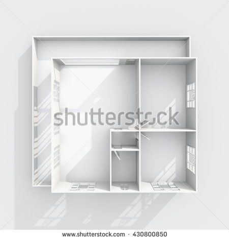 Stock Photo 3d Interior Rendering Of Empty Paper Model HomesPaper ModelsEntrance DoorsHallEmptyInterior RenderingBedroomBalconyWindow