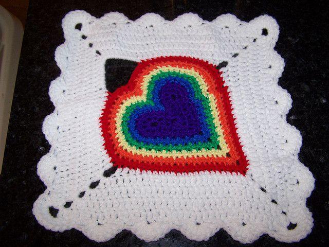 Rainbow Heart Square by mama24boyz, via Flickr ~ free pattern