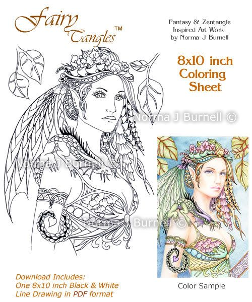 cybele and kaida little dragon fairy tangles coloring sheet coloring page by norma j burnell fairies