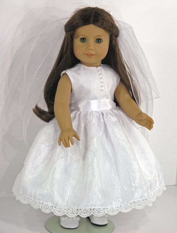 American Girl Clothes - First Communion 18 inch Doll Dress, Veil ...