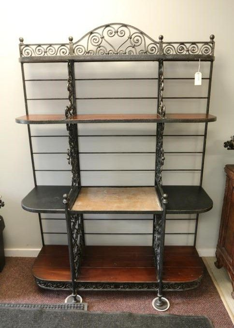 Item 81 Scroll Iron Bakers Rack With Stone Insert Center And