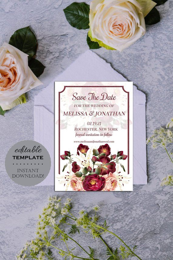 burgundy red floral save the date template  editable