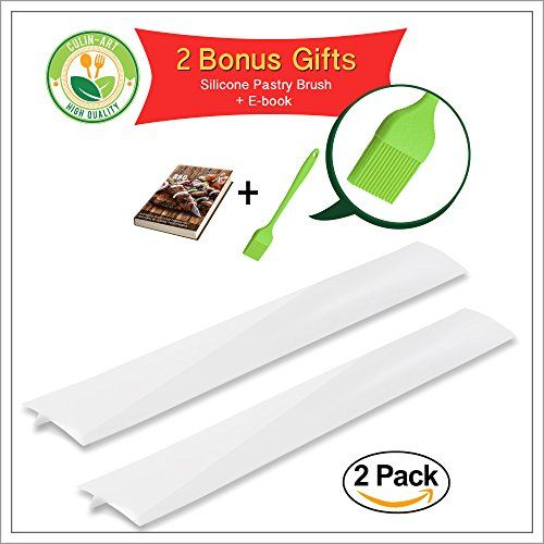 Modern Silicone Stove Counter Gap Cover by CulinArt  Set of 2  White Color  Great for Kitchen Stove Washing Machine Dryer Counters and More  2 Bonus Gift Silicone BrushBBQ eBook *** Check out the image by visiting the link.Note:It is affiliate link to Amazon.
