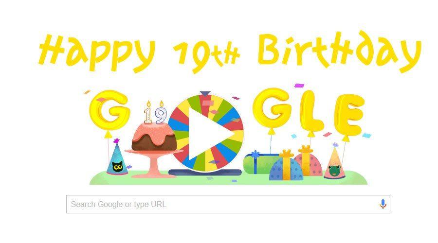 Google Celebrates Its 19th Birthday With Amazing Doodle Of 19 Games Happy Birthday Google 19th Birthday Google Birthday