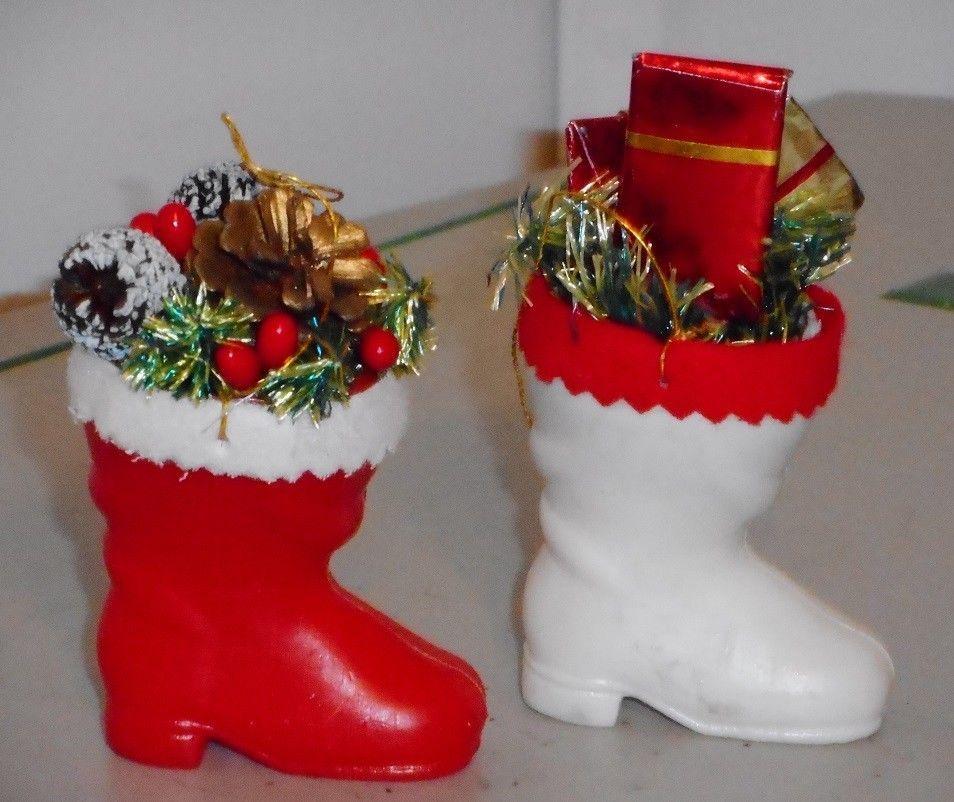 lot of 2 vintage plastic christmas ornaments santa boots - Vintage Plastic Christmas Decorations