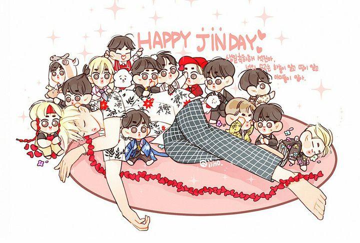 FANART DE BTSXJIN∩˙▿˙∩ - Taejin (8)(๑^ں^๑) #jinbirthday