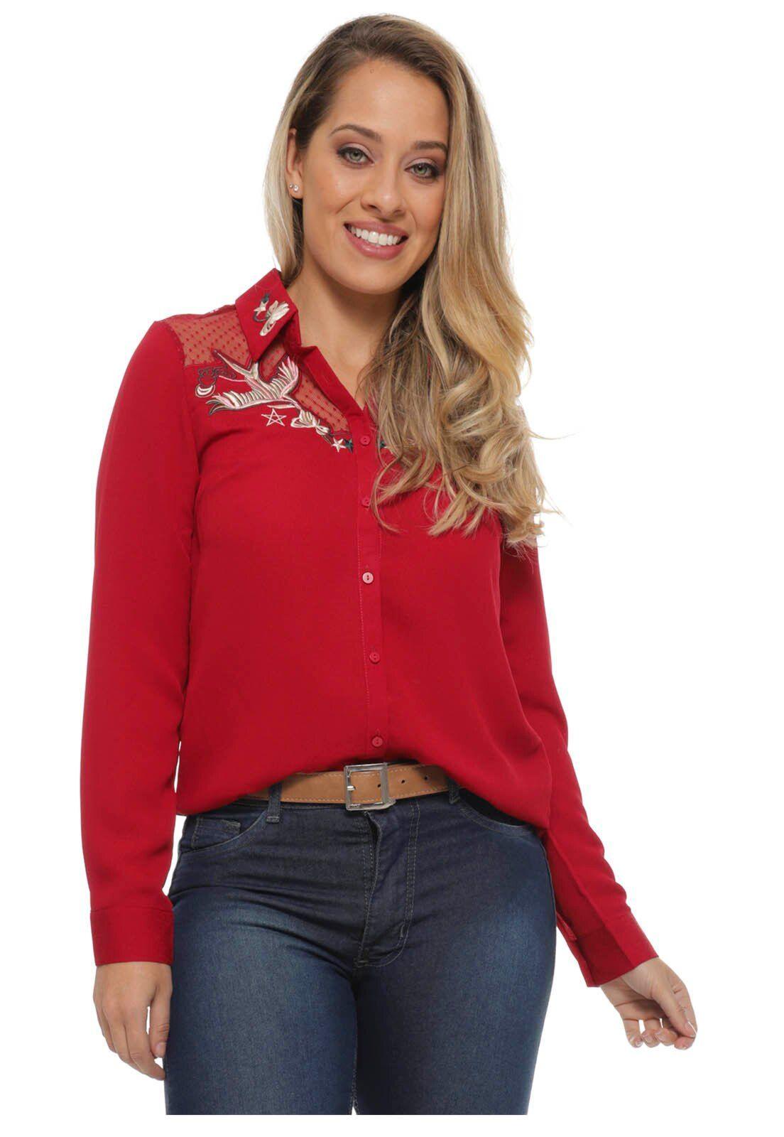 Camisa Crepe Manga Longa Vermelha | Miroa | Roupa feminina