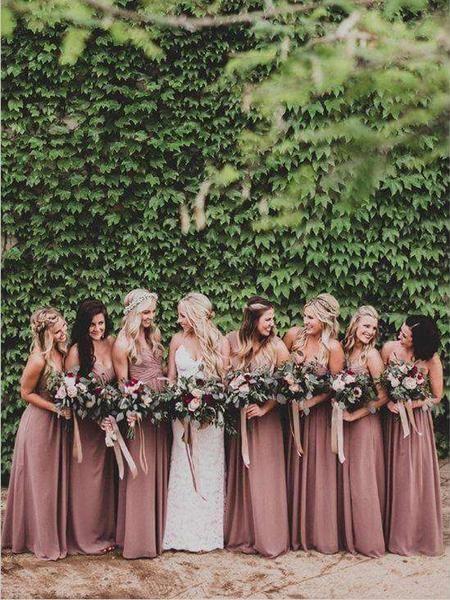 Photo of Cheap Sweet Heart Chiffon Long Bridesmaid Dresses, BW0249