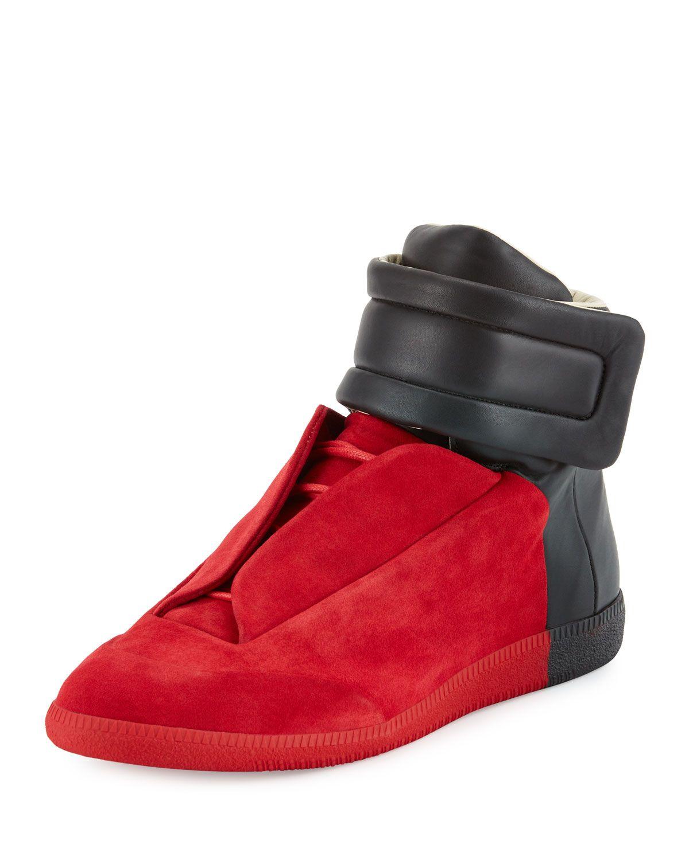 Maison Margiela Future Red Black Colorblock High-Top Sneakers in ... 06082e82138e