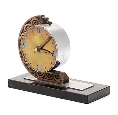 Metal Art Deco clock on black marble base designer execution unknown ca.1925