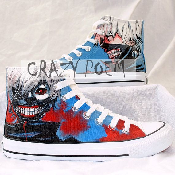 High Quality Tokyo Ghoul Hand Painted Shoes High Top by CrazyPoem