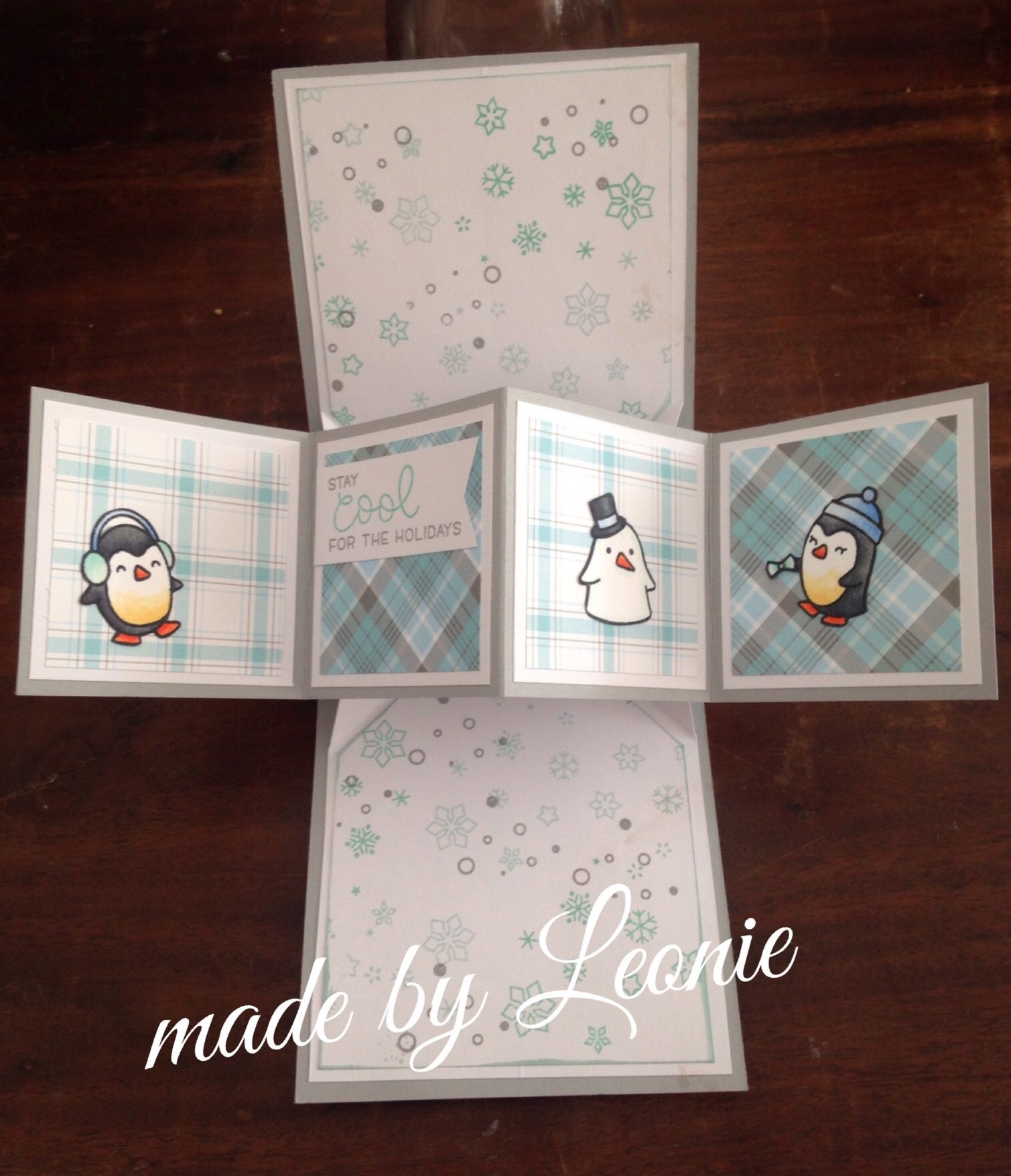 Pop Up Card Lawn Fawn Snow Cool Perfectly Plaid Fancy Fold