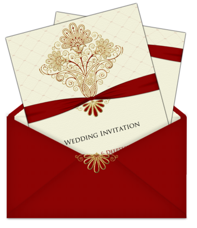 Maroon cream and gold card in a lovely letter style envelopoe – Wedding Cards Indian Style
