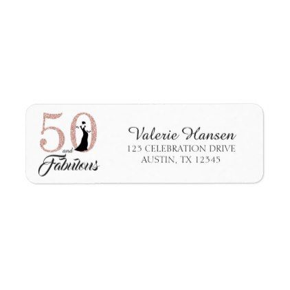 50 and Fabulous 50th Birthday Return Address Label Return address - address label