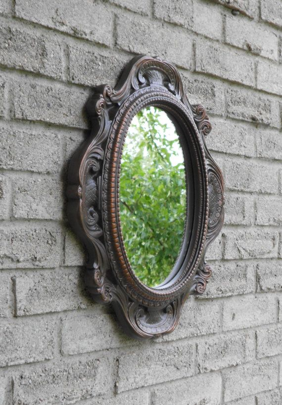 Wall Oval Mirror With Oil Rubbed Bronze Color Frame Shabby Chic