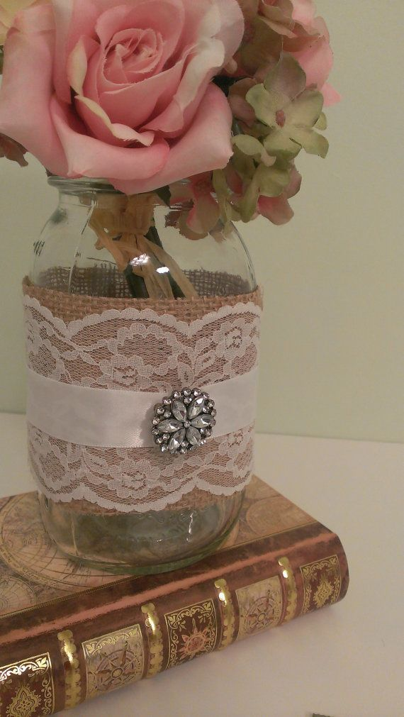 Burlap and lace wedding decor ideas burlap lace lace weddings and rustic wedding centerpiece burlap and lace wedding mason jar centerpiece burlap and brooch set of 6 on etsy 6895 junglespirit Choice Image