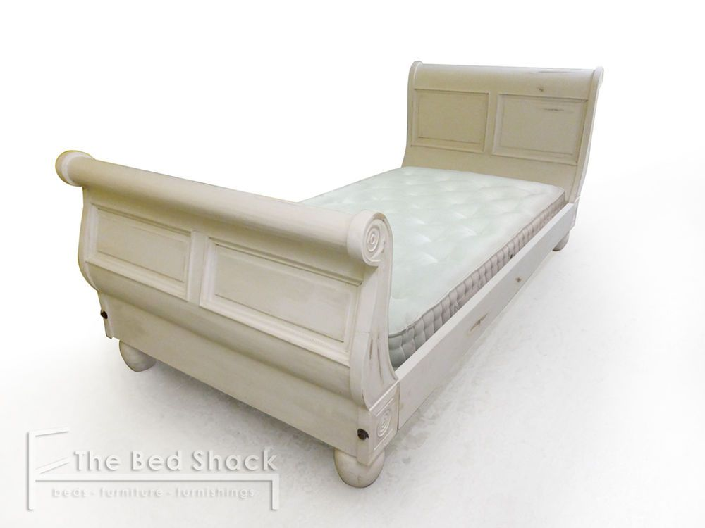 Single Size Ivory Shabby Chic Solid Wood Sleigh Bed Frame Optional Mattress