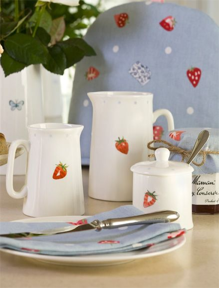 Mjscp02 Strawberries And Cream Solo Dots Medium Jusg Lifestyle Low Res Strawberry Kitchen Tableware Decorations