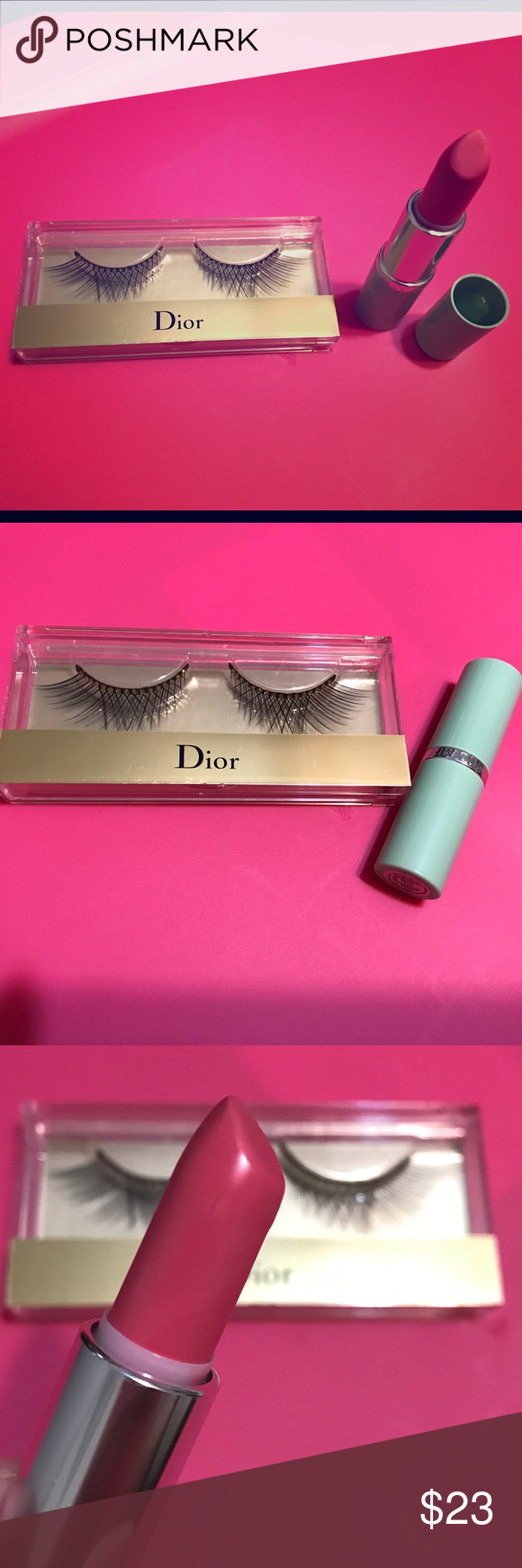 Clinique Matte Petal Lipstick&Dior False Eyelashes Both new, never used.  Lipstick is color matte petal. Has a scratch on it somehow. See picture 3.   False eyelashes have Swarovski crystals on them and box comes with glue. Clinique Makeup False Eyelashes