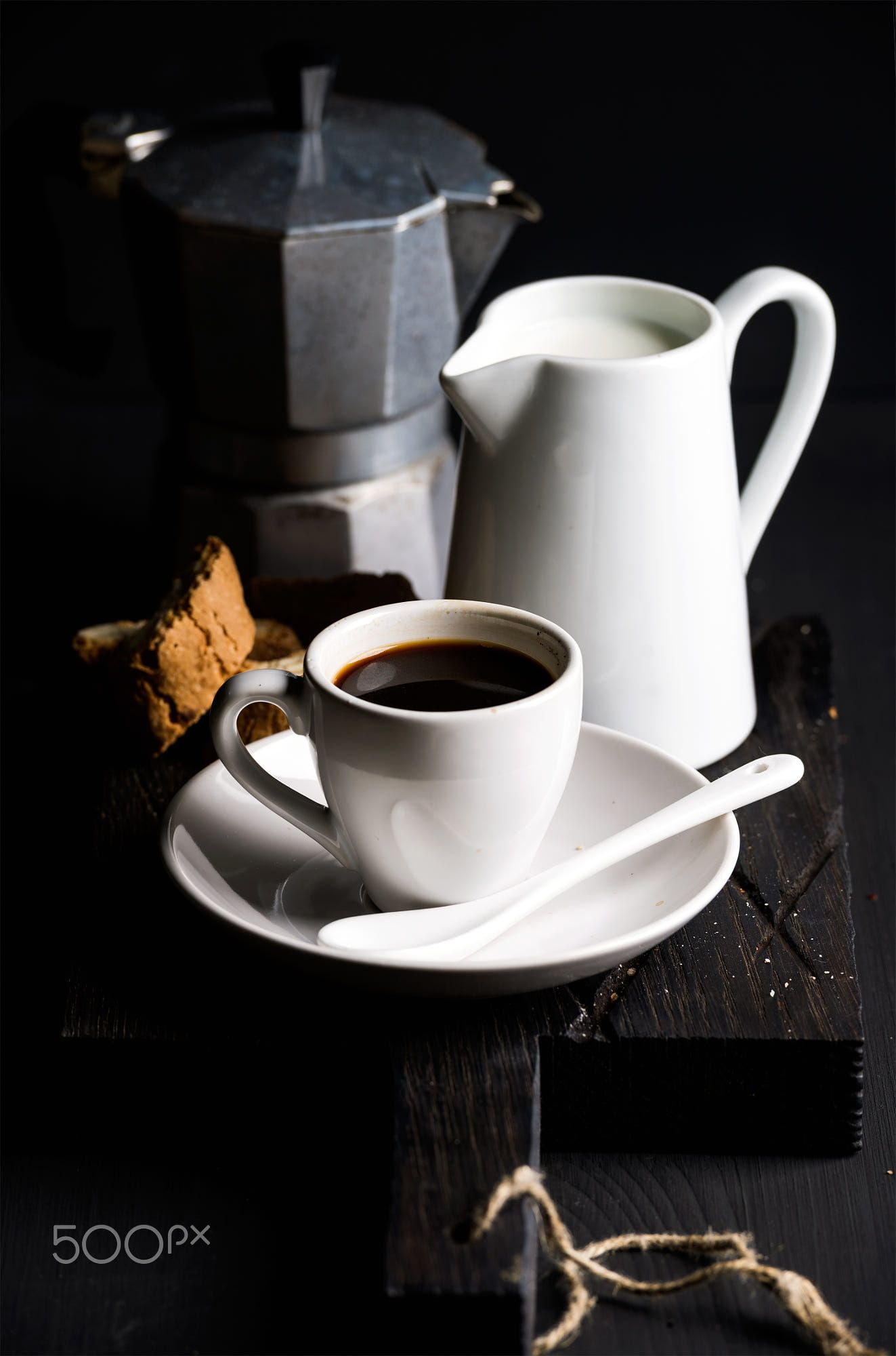 Italian coffee set. Cup of hot espresso, creamer with milk
