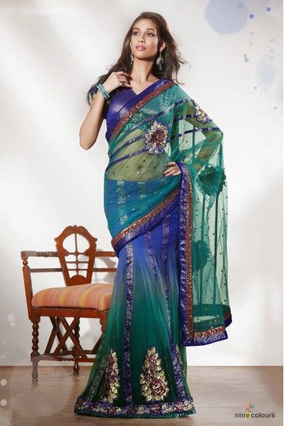 Net Lehenga Saree In Green and Blue Colour