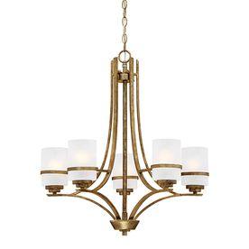 Millennium Lighting Benton 26 In 5 Light Vintage Gold Scavo Glass