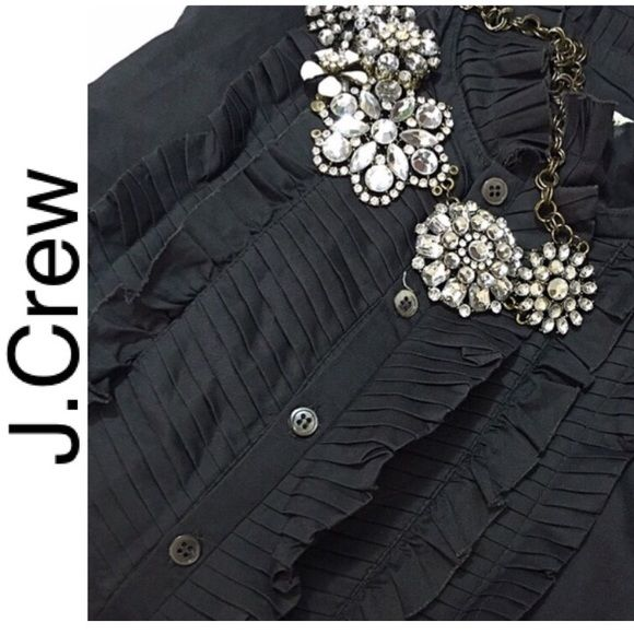 J Crew ruffled shirt J Crew dark grey ruffled button down shirt size 2. Worn twice excellent pre loved condition. $89 J. Crew Tops Button Down Shirts