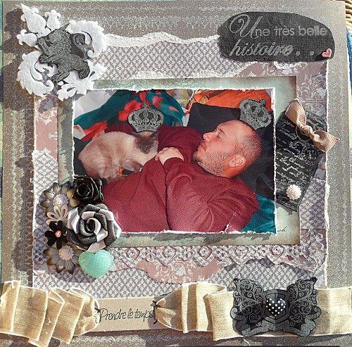 Page de scrap masculine sur mon homme avec son chat entrain de faire la sieste
