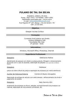 Modelo De Curriculum Simples   Modelo De Curriculum  Modelos De Resume