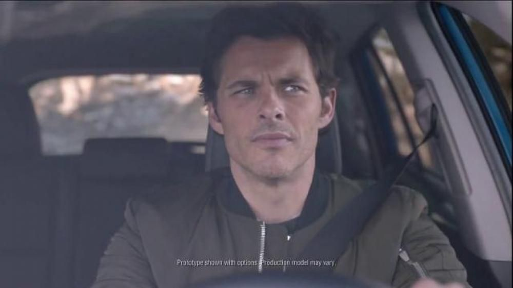 """Actor James Marsden makes me chuckle. """"As he drives his 2016 Toyota RAV4 Hybrid, a narrator creates a story where Marsden  crosses paths with a group of lumberjacks in a place where """"death is lurking."""" They teach James to saw, climb and run on a spinning log. He even saves a lumberjack's life and receives his flannel shirt in return."""""""