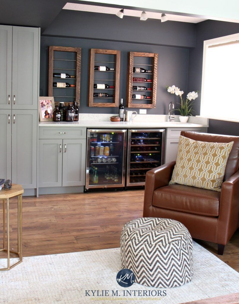 Home Bar And Unique Wine Bottle Display Storage With Beer Fridge Sherwin Williams Cybere In Family Room Kylie M Interiors E Decor Design