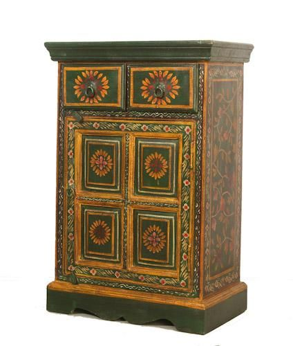 Indian Painted Cupboard With Drawers Rajasthani Bedside Cupboard Indian Furniture Painted Furniture Bedside Cupboard