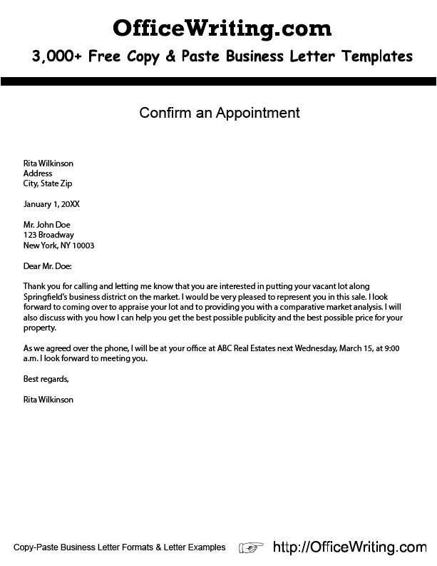 Confirm an Appointment. http://OfficeWriting.com - FREE COPY AND ...