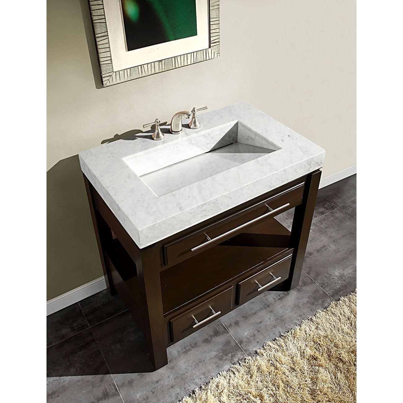 Silkroad Exclusive 36 Inch Carrara White Marble Stone Top Bathroom