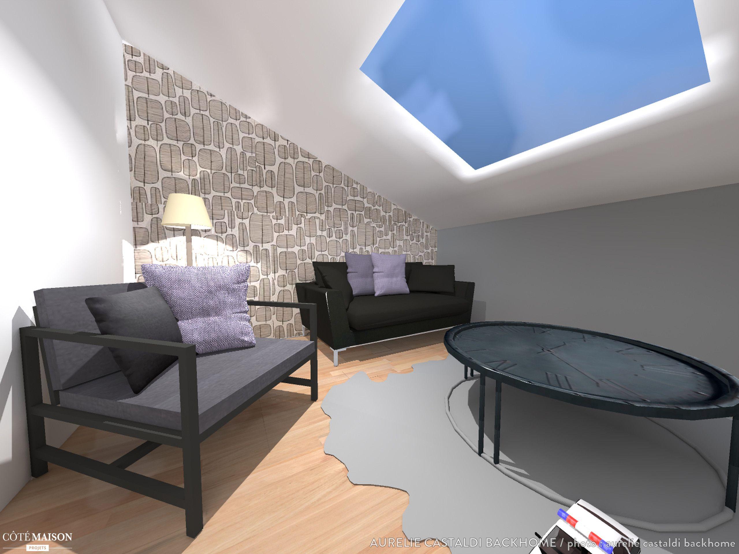 affordable une maquette duun salon amnag sous les combles with salon sous comble. Black Bedroom Furniture Sets. Home Design Ideas