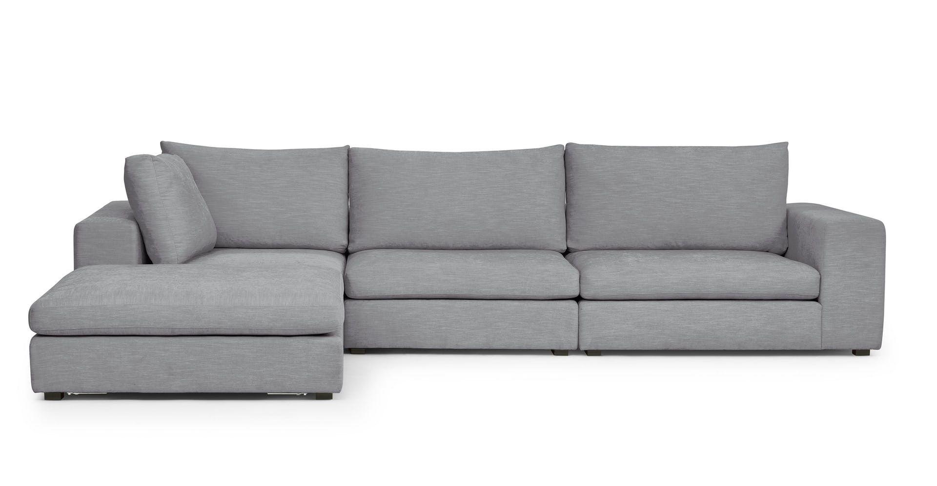 Gaba Gull Gray Left Modular Sectional Modern Sofa Sectional Mid Century Modern Sectional Sofa Modular Sectional Sofa