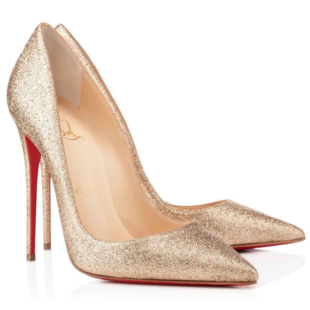 8bbb631da2d Classic Christian Louboutin So Kate 120mm Gold Glitter Pointed Toe ...
