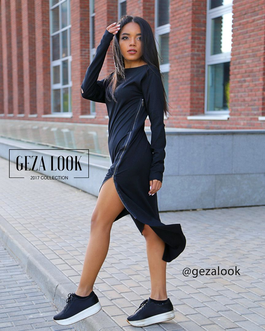 be1fc9c61fb Стильное черное платье миди в уличном стиле