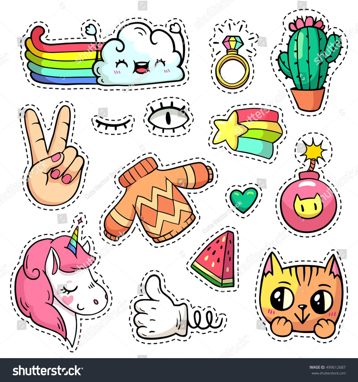 vector patch badges with animals characters and things hand drawn